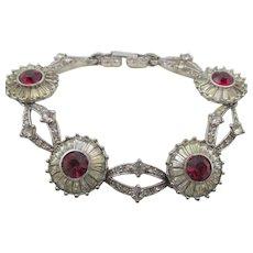 Vintage Pennino Signed Crystal and Red Rhinestone Bracelet