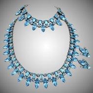 Vintage Signed Schreiner Aqua Blue Rhinestone Parure