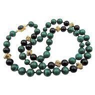 Vintage Malachite and Onyx Beaded 28 in. Necklace Sterling Vermeil