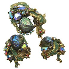 Vintage Signed HAR Dragon Enamel and AB Rhinestone Brooch and Earring Set