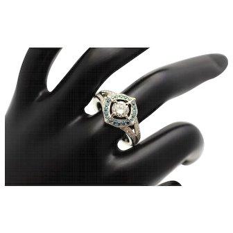 Diamond Halo Ring with Blue Diamond Halo 14K White Gold