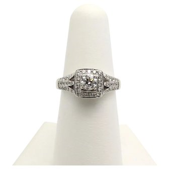 Diamond Engagement Ring with Split Shank and Scroll Design 14K white gold