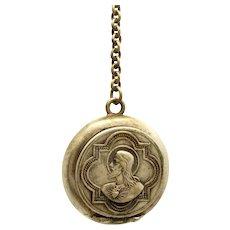 Vintage German Silver Rosary Locket - Sacred Heart of Jesus