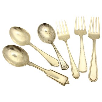 Youth Flatware Sterling Silver-Unique group of 6