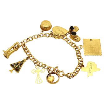 14k Gold Charm Bracelet of LIFE - 9 Charms