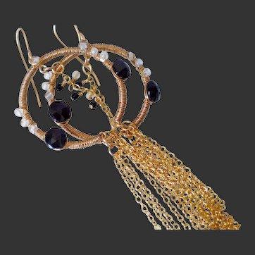 14k Gold Fill & Spinel  Earrings  by Pilula Jula 'Stellar'