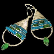 Chrome Diopside & Peacock Blue Apatite Earrings by Pilula Jula 'On The Terrace'