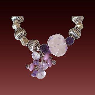 Pink Amethyst & Phosphosiderite Sterling Bracelet by Pilula Jula 'Floral Avalanche'