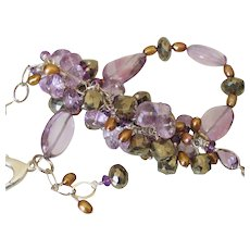 Amethyst Pyrite & Cultured FW Pearl Cluster Bracelet by Pilula Jula 'Time Flies I'