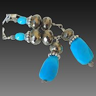 Sleeping Beauty Turquoise & Pyrite Earrings by Pilula Jula 'Sierra Leone'