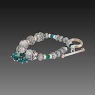 Emerald Green Swarovski Crystals & Sterling Bracelet by Pilula Jula  'Holiday'