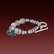 Emerald Green Swarovski Crystals & Sterling Bracelet by Pilula Jula  'Holiday'