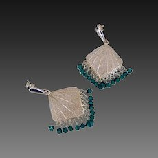 Emerald Green Swarovski Crystal Chandelier Earrings by Pilula Jula 'Holiday'