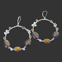 Gem Aquamarine Quartz Wire Wrapped Hoop Earrings by Pilula Jula 'Falling in Style'