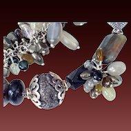 Pyrite Moonstone Boro Tourmaline Bracelet by Pilula Jula 'Heavy Lifting'