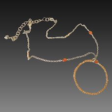 Orange Sapphire Wire Wrapped Necklace by Pilula Jula 'manhattan moon'