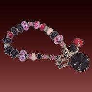 Boro Onyx & Swarovski Elements Charm Bracelet by Pilula Jula 'Final Attraction'