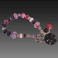 Boro Onyx & Swarovski Elements Charm Bracelet by Pilula Jula 'Final Attraction'
