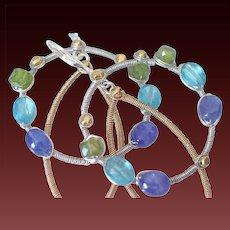 Tanzanite Vesuvianite & Paraiba Blue Apatite Medallion Earrings by Pilula Jula ' Mariner's Moonlight'