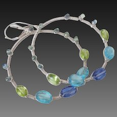 Kyanite Sapphire Peridot Apatite Hoop Earrings by Pilula Jula 'Legends & Legacies'