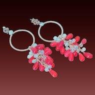 Fuchsia & Blue Chalcedony Earrings by Pilula Jula 'Plastic Roses'