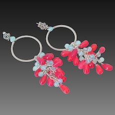 Fuchsia & Blue Chalcedony Earrings by Pilula Jula 'Plastic Roses'