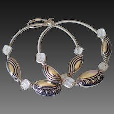 Sterling Wire Wrapped Hoops by Pilula Jula 'Bones I'