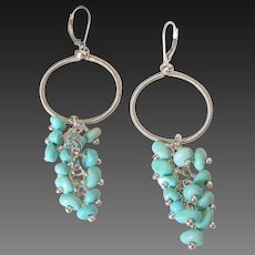 Mexican Turquoise Wire Wrapped Dangle Earrings by Pilula Jula 'Dweller in a Dream'