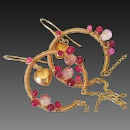 Sapphire Ruby & Topaz 14k Gold Fill Earrings by Pilula Jula 'Hearts on Fyre''