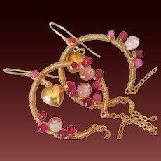 Sapphire Ruby & Topaz 14k Gold Fill Earrings by Pilula Jula 'Hearts on Fyre''