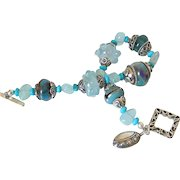 Aquamarine Turquoise & Boro Bracelet by Pilula Jula 'Kiss of Dawn'