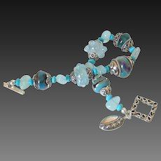Aquamarine Turquoise & Boro Bracelet by Pilula Jula 'Kiss of Dawn'