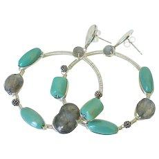 Turquoise & Labradorite Wire Wrapped Earrings by Pilula Jula 'Bitter Creek II'