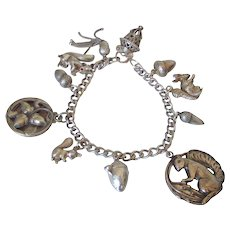 Sterling Padlock Charm Bracelet Squirrels & Acorns by Pilula Jula 'Stash'