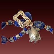 Lapis Pyrite & Opening Turtle Charm Bracelet by Pilula Jula 'Too Hot to Sleep'