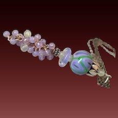 Holly Blue Chalcedony & Prehnite Lampwork Pendant Necklace by Pilula Jula ' Sunrise Highway'
