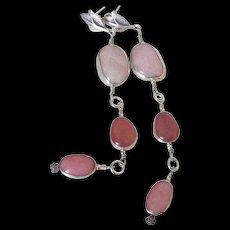 Morganite Rhodochrosite & Peruvian Opal Earrings by Pilula Jula 'Rose Queen II' - Red Tag Sale Item