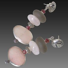 Morganite & Tourmaline Earrings by Pilula Jula 'Curls Like Weeds I'