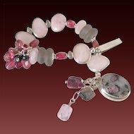Tourmaline  & Morganite Bracelet by Pilula Jula 'Curls Like Weeds'