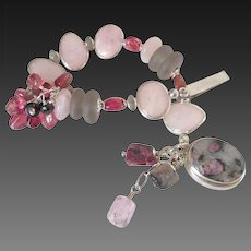 Tourmaline  & Morganite Bracelet by Pilula Jula 'Curls Like Weeds'