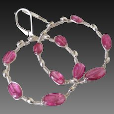 Gem Rubellite Tourmaline Hoop Earrings by Pilula Jula 'Curls Like Waves II'