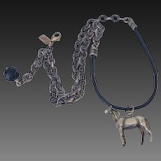 English Sterling Horse Fob on Leather Necklace by Pilula Jula 'The Mane Squeeze'