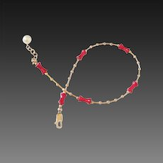 Coral & Gold Fill Anklet by Pilula Jula 'Read My Mind'