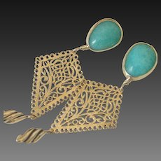 Gem Peruvian Amazonite Earrings by Pilula Jula 'Lady on the Water'