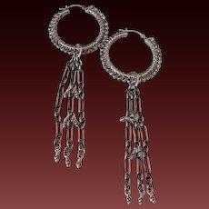 Sterling Silver Hoop & Tassel Earrings by Pilula Jula 'Chain of Fools'