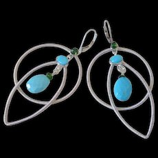 Gem Sleeping Beauty Turquoise & Chrome Diopside Original Earrings by Pilula Jula 'Dancing With a Tornado' - Red Tag Sale Item