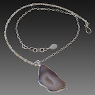 Drusy Diamonds & Drusy Quartz Pendant Necklace by Pilula Jula 'West Coast Rock'