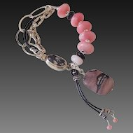 Peruvian Pink Opal & Leather Bracelet by Pilula Jula 'Wild 4 Ever'