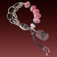 Peruvian Pink Opal & Leather Bracelet by Pilula Jula 'Wild 4 Ever'