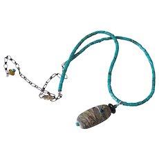 Turquoise Heishi and Handmade Lampwork Pendant Necklace by Pilula Jula 'Totem'